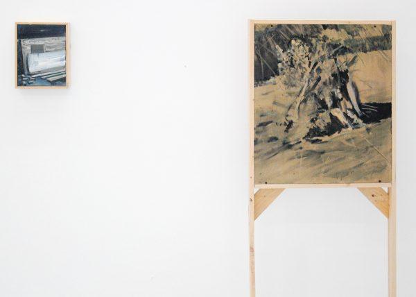 Tobias Langkeek - Wood1 - 26x20cm & Woodpile - 150x60cm Olieverf op hout